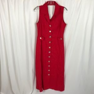 Vintage halter midi dress sleeveless button down
